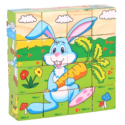 Wooden Jigsaw Puzzle 6 Sides 3D Cube Cartoon Puzzle Building Block Early Educational Develoment Toys Gifts for Kids