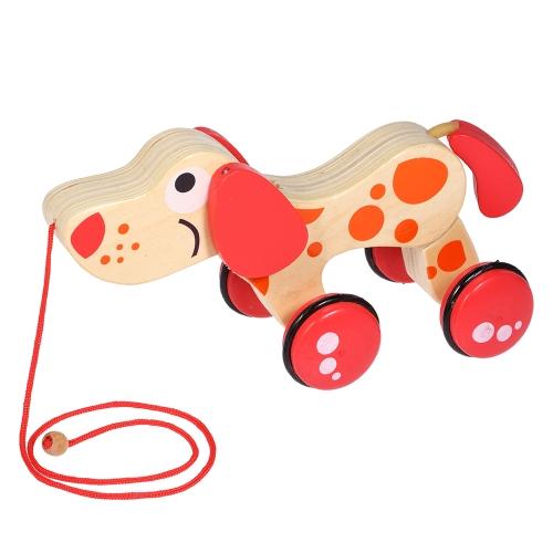 Симпатичные деревянные собака трактор перетаскивания автомобилей скручивания игрушки животных щенок Открытый игрушки подарки для детей