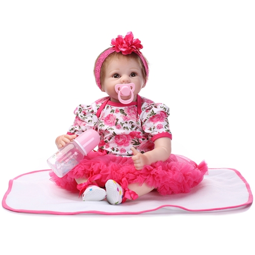 22inch 55cm Reborn Toddler Baby Doll Girl PP filling Silicon Doll Boneca With Clothes Lifelike Cute Gifts Toy