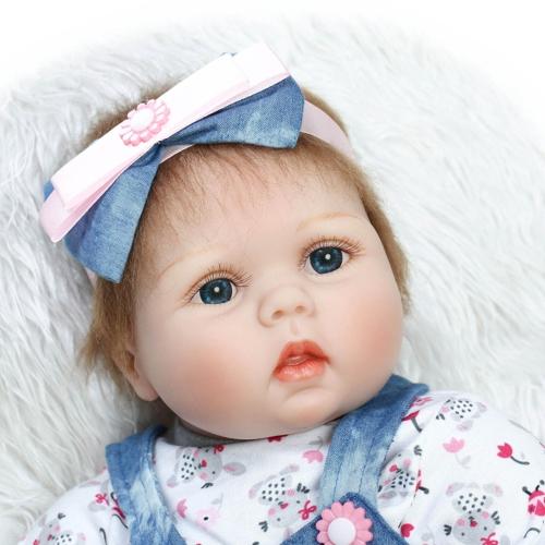 Image de 22 pouces 55 cm Reborn Toddler Bébé Poupée Fille PP Coton Remplissage Corps Boneca Avec Des Vêtements Réaliste Mignon Cadeaux Jouet