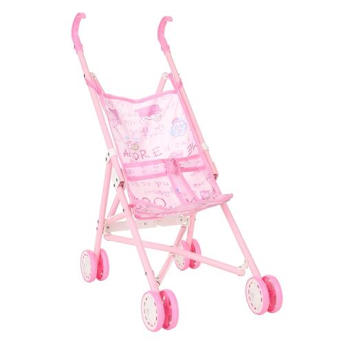 Baby младенческая кукла прогулочная коляска Складная с куклами для 12-дюймовой куклы Барби мини-коляски игрушки подарок розовый