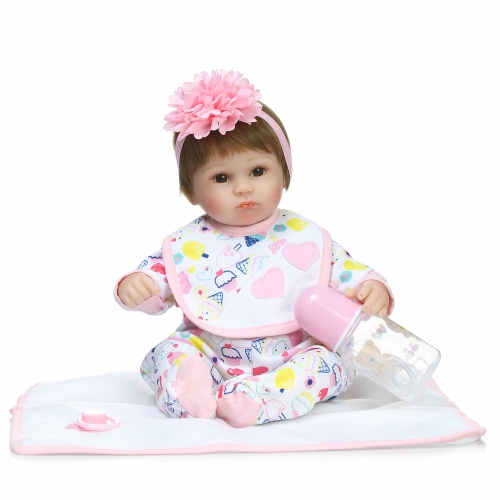 16inch 41cm Reborn Baby Doll Girl PP Filling Body Realistic Lifelike Boneca Gifts Toy Pink Flower