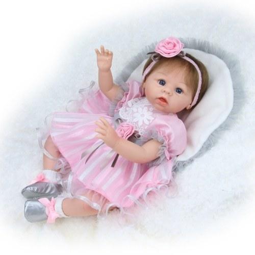 Image de 22 pouces 55 cm Reborn Bébé Poupée Fille PP remplissage Silicone Avec Des Vêtements D'alimentation Bouteille Réaliste Mignon Cadeaux Jouet