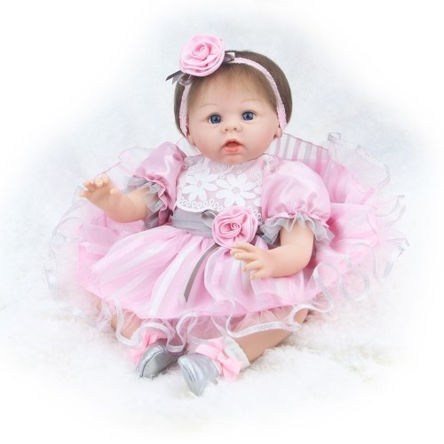 22inch 55cm Reborn Baby Doll Girl PP заполнение Силикон с одеждой Кормление Бутылка Lifelike Симпатичные игрушки подарков
