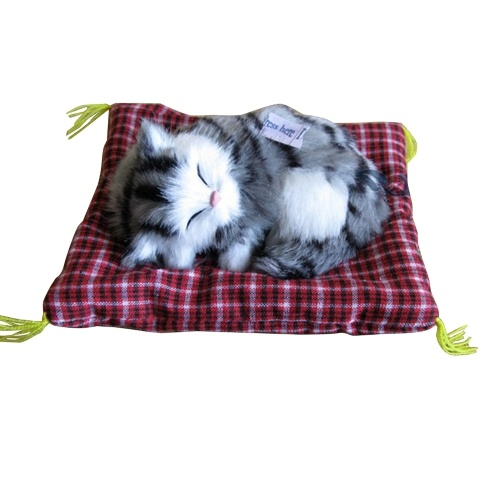 Lovely Simulation Padded Sleeping Cat with Sound Children Plush Stuffed Toy Birthday Gift