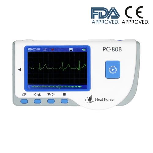 Heal Force Médico portátil ECG EKG Monitor Monitor de frecuencia cardíaca Operación rápida y conveniente