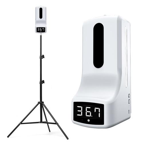 Máquina automática de desinfección y medición de temperatura por infrarrojos con soporte para colgar en la pared / fijar en trípode ° C / ° F Salida automática de líquido 1000ML