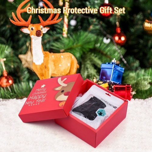 Christmas Protective Gift Set with 1 * Reusable Cotton Face Mask + 4pcs * Mask Brackets + 100pcs * PM2.5 Mask Filters + 10pcs * Disposable Gloves + 10pcs * Christmas Tree Ornaments Christmas Gift Box Packing