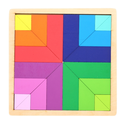 Drewniane puzzle Paleta kolorów Deska Tangram Early Educational Develoment Toys Gifts for Kids