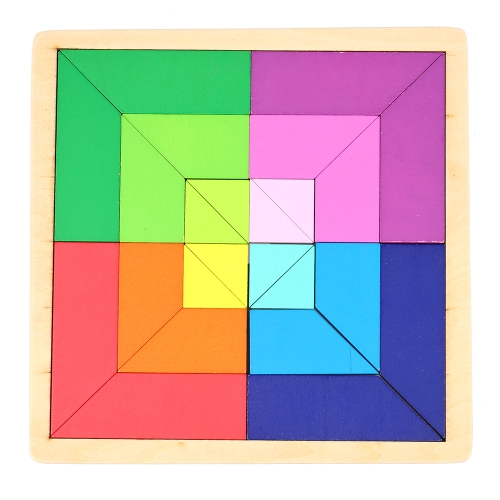 Wooden Jigsaw Puzzle Color Palette Board Tangram Early Educational Develoment Toys Gifts for Kids