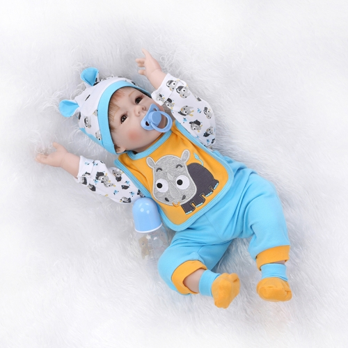 22inch 55cm Reborn Toddler Baby Doll Boy PP filling Silicon Doll Boneca With Clothes Lifelike Cute Gifts Toy