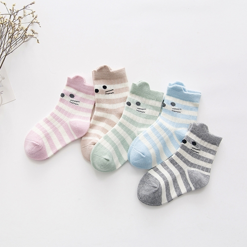 5 Pack Baby Unisex Socks Cotton Cute Cartoon Ear For 1-3 Year Infant Toddler Boy Girl Style1