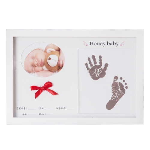 Baby Handprint Footprint Picture Frame Kit Wooden Photo Frame Lanugo Keeper
