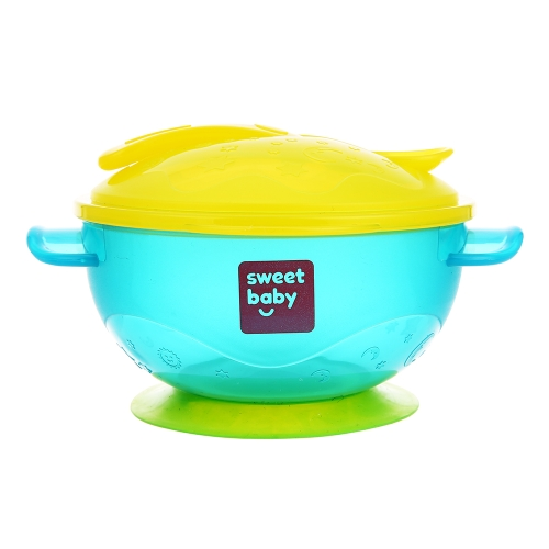 Stay Put Baby Feeding Bowl With Suction Base Lids Spoon Детская тренировочная чаша BPA бесплатно Blue