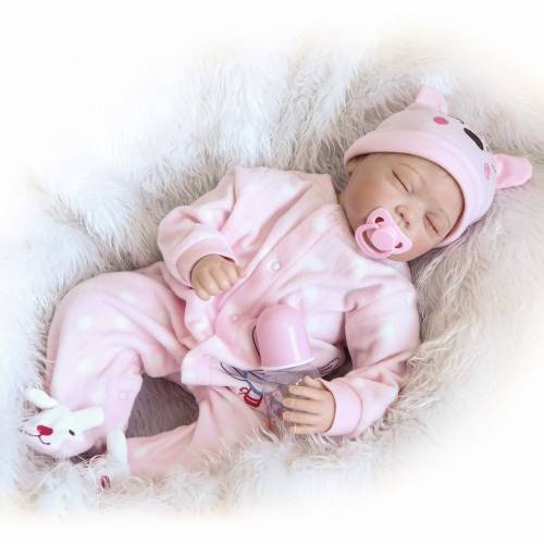 22inch 55cm Reborn Baby Doll Girl PP wypełnienie Silicon With Clothes Realistyczne Cute Gifts Toy