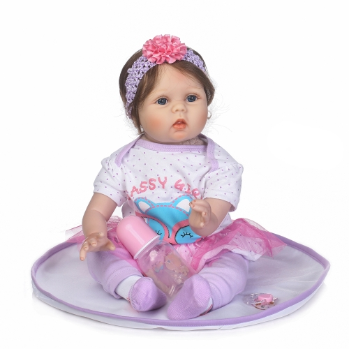 22inch 55cm Reborn Baby Doll Girl PP наполнение кремния с одеждой Lifelike Cute Gifts Toy