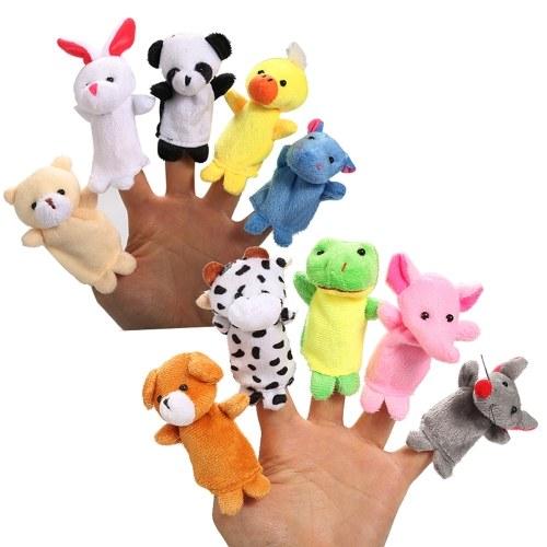 Image de 10pcs doigt marionnettes à la main des enfants spectacles programmes jeux outils d'enseignement en peluche jouets de modèles animaux