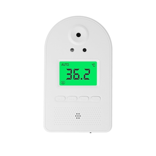 Wall-mounted Infrared Thermometer with 100 Data Storage Tri-colored LCD Display Voice Broadcast °C/ °F Non-contact Thermometers with Fever Alarm Digital Temperature Measurement