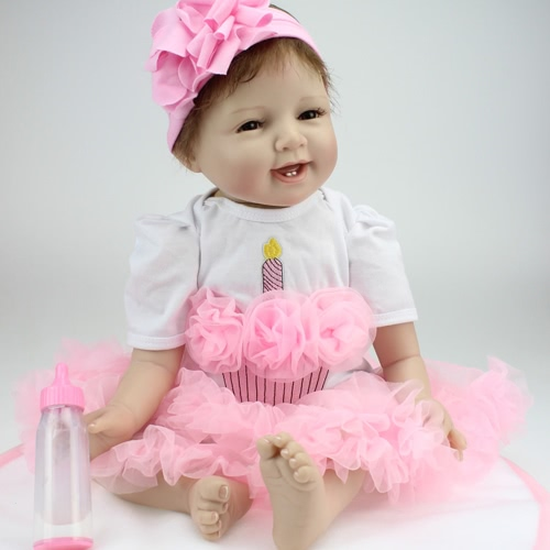 Reborn Baby Doll Girl Silicone Body Eyes Open Smiling Baby Doll With Clothes 22inch 55cm Lifelike Cute Gifts Toy