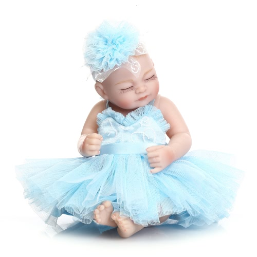 Reborn Baby Doll Baby Bath Toy Full Silicone Body Eyes Close Sleeping Baby doll With Clothes 10inch 25cm Lifelike Cute Gifts Toy Girl