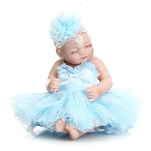 Reborn Baby Puppe Baby Bad Spielzeug Voll Silikon Körper Augen Schließen Schlafen Baby Puppe Mit Kleidung 10inch 25cm Lifelike Cute Geschenke Spielzeug Mädchen