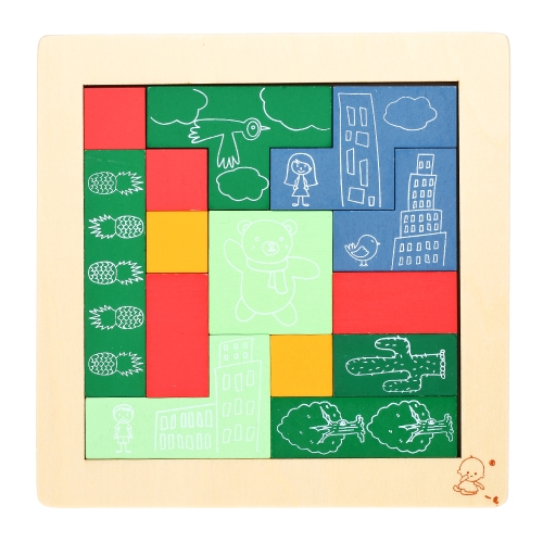 Wooden Jigsaw Puzzle Board Tangram Early Educational Develoment Toys Gifts for Kids