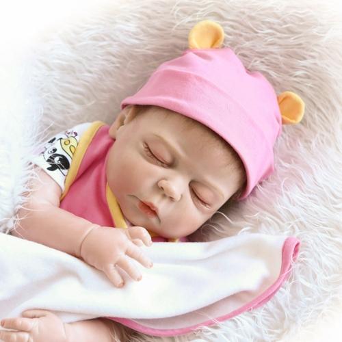 Image de 22 pouces 55 cm Reborn Bébé Poupée Fille Plein Silicone Poupée De Sommeil Bébé Jouet De Bain Avec Des Vêtements Réaliste Mignon Cadeaux Jouet