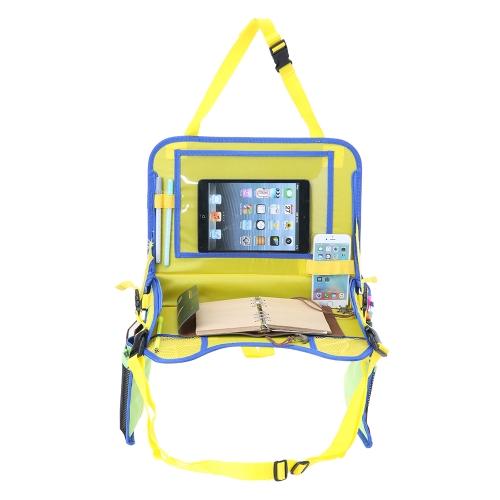 Plateau de voyage d'enfants avec support de stockage de maille d'iPad bureau de support pour l'avion de siège de voiture jaune