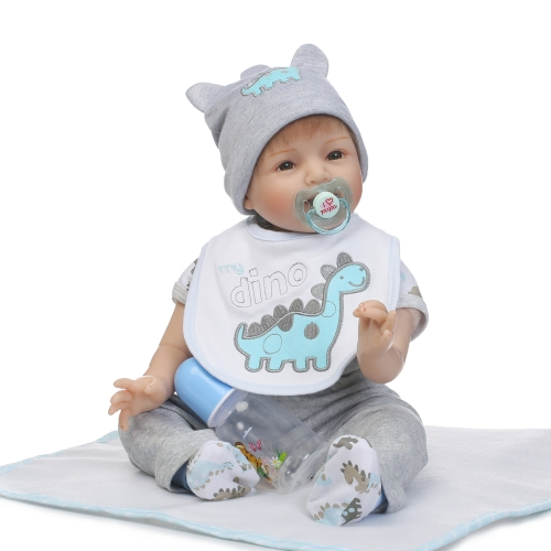 22inch 55cm Reborn Baby Doll Girl PP wypełnienie Silicon With Dinosaur Clothes Realistyczne Cute Gifts Toy