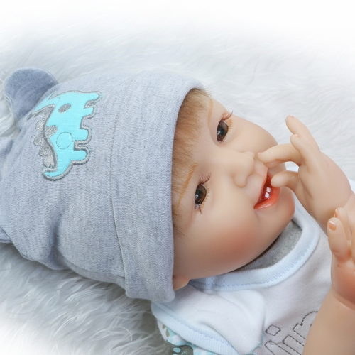 22inch 55cm Reborn Baby Doll Girl PP filling Silicon With Dinosaur Clothes Lifelike Cute Gifts Toy