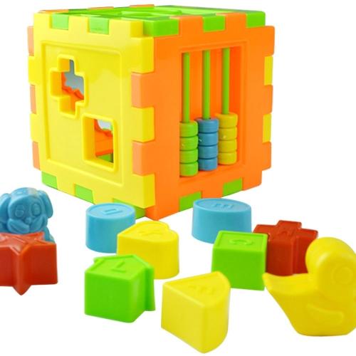 Baby-bunte Block-Spielzeug-Ziegelsteine, die Blöcke Baby-Intelligenz-pädagogisches sortierendes Kasten-Spielzeug zusammenbringen
