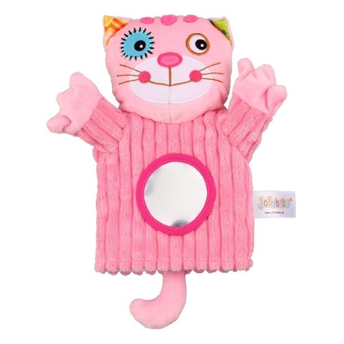 Baby Animals Hand Puppet Plush Rattles Bell Magic Mirror Soft Finger Toys For Early education Lion