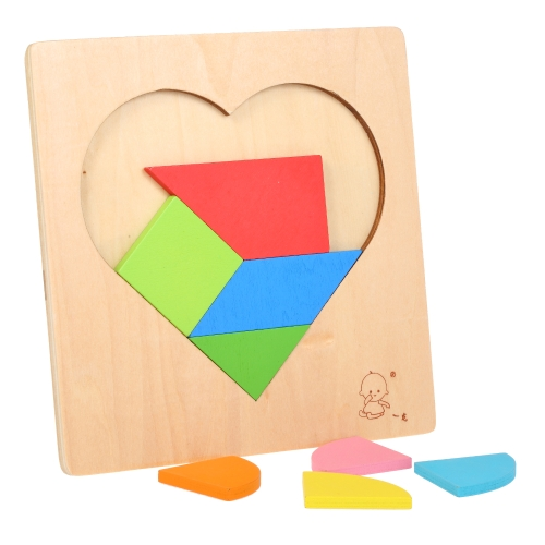 Wooden Jigsaw Puzzle Heart-Shaped Board Tangram Early Educational Develoment Toys Gifts for Kids