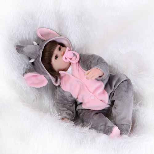 16inch 41cm Silicone Reborn Toddler Baby Doll Girl Body Boneca With Clothes Brown Eyes Lifelike Cute Gifts Toy
