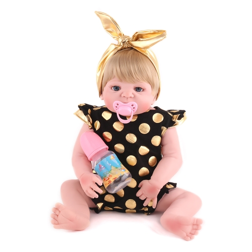 22inch 55cm Reborn Baby Doll Girl Full Silicone Body Bath Toy With Clothes Lifelike Cute Gifts Toy