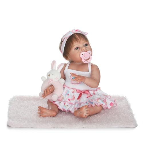 Reborn Bébé Poupée Fille 19 pouces 48 cm Plein Silicone Corps Bain Jouet Réaliste Réaliste Boneca Cadeaux Jouet