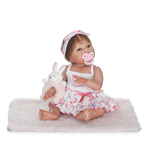 Reborn Baby Doll Girl 19inch 48 см Полная силиконовая кукла для ванны реалистичная Lifelike Boneca Gifts Toy