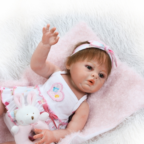 Reborn Baby Doll Girl 19inch 48cm Full Silicone Body Bath Toy Realistic Lifelike Boneca Gifts Toy