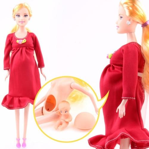 Mode DIY echte schwangere Mutter Puppe schöne Barbie Puppen haben ein Baby im Bauch Mädchen Prensent Puppe Spielzeug Geschenk