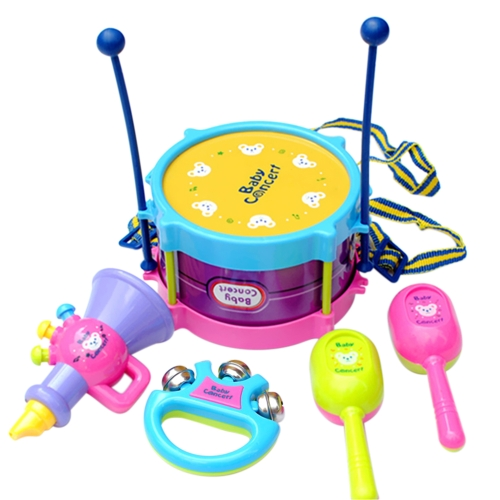 5Pcs Baby Roll Drum Mini Musical Instruments Baby Horn Music Toys Kids Musical Instrument Handbell Trumpet Sand Hammer Drum Stick