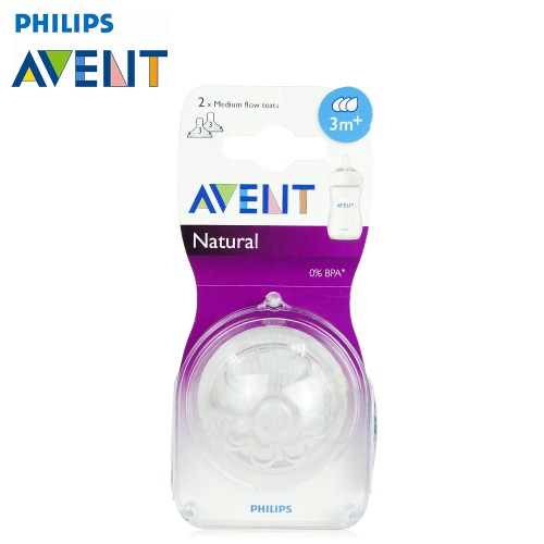 PHILIPS AVENT 2pcs BPA Free Natural Medium Flow Nipples  for 3 Month+