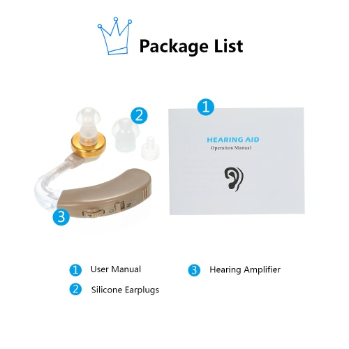 AXON Digital BTE Hearing Amplifier Aid W/ 3 Silicone Earplugs CE & ROHS Approved