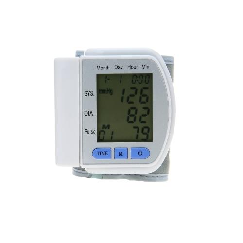 Monitor de presión arterial muñeca automática Cuff 90 Memoria de datos / Frecuencia de pulso / apagado automático Esfigmomanómetro digital