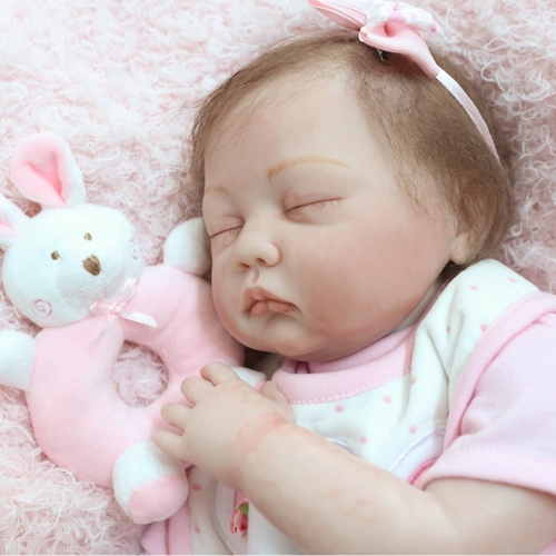 22inch Silicon Reborn Toddler Doll Sleeping Baby Doll Girl Eyes Close With Hair Clothes Boneca Lifelike Cute  Gifts Toy