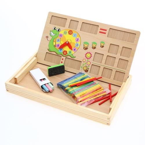 Hölzerne Anzahl Zählen Bord Uhr Mathematik Caculation Lernen Vorschulunterricht Spielzeug für Kinder Kind