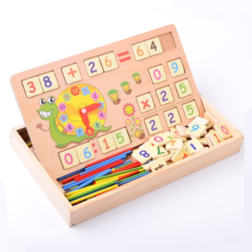 Wooden Number Counting Board Clock Math Caculation Learning Preschool Teaching Toys for Kids Child