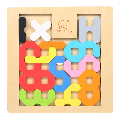 Wooden Jigsaw Puzzle Number Count Board Tangram Early Educational Develoment Toys Gifts for Kids