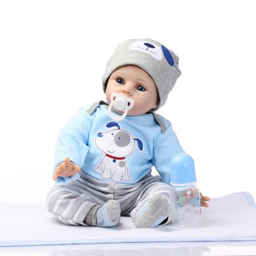 22inch 55cm Reborn Toddler Baby Doll Boy Silicone Body Boneca With Clothes Blue Eyes Lifelike Cute Gifts Toy