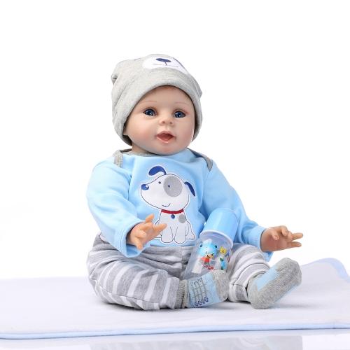 22 cali 55cm Reborn Berbeć Baby Doll Boy Silikonowe ciało Boneca z ubraniami Niebieskie oczy realistyczne słodkie prezenty zabawki