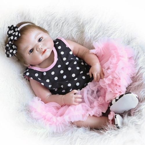 22inch 55cm Reborn Baby Doll Girl Pełna silikonowa księżniczka Lalka Baby Bath Toy z ubrania realistyczne Śliczne prezenty zabawki
